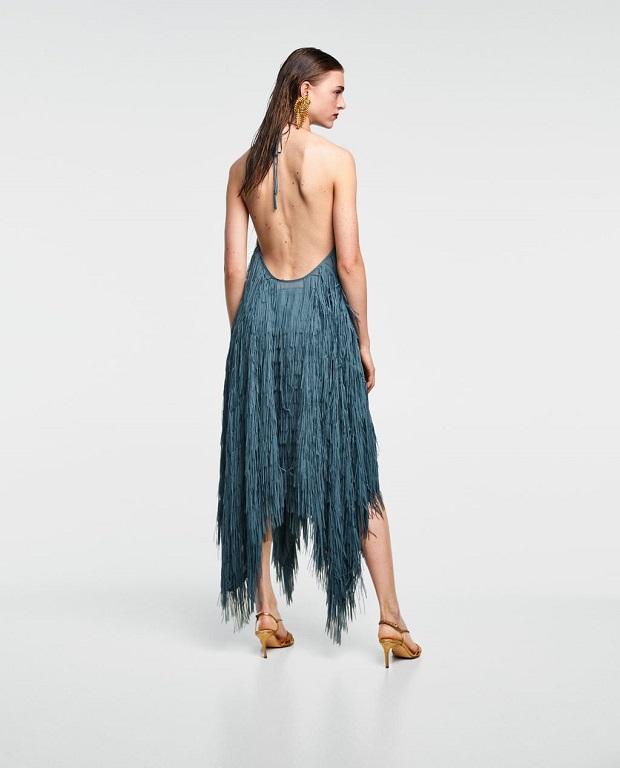 vestido de flecos de Zara